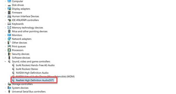 Realtek Audio Manager in Device Manager