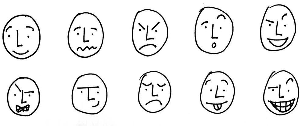 expression du visage donné par la bouche
