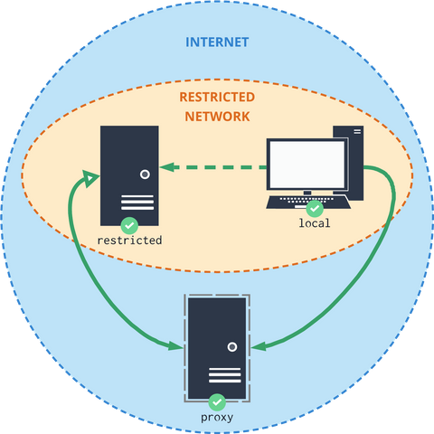 The indirect connection between your local system and the restricted server