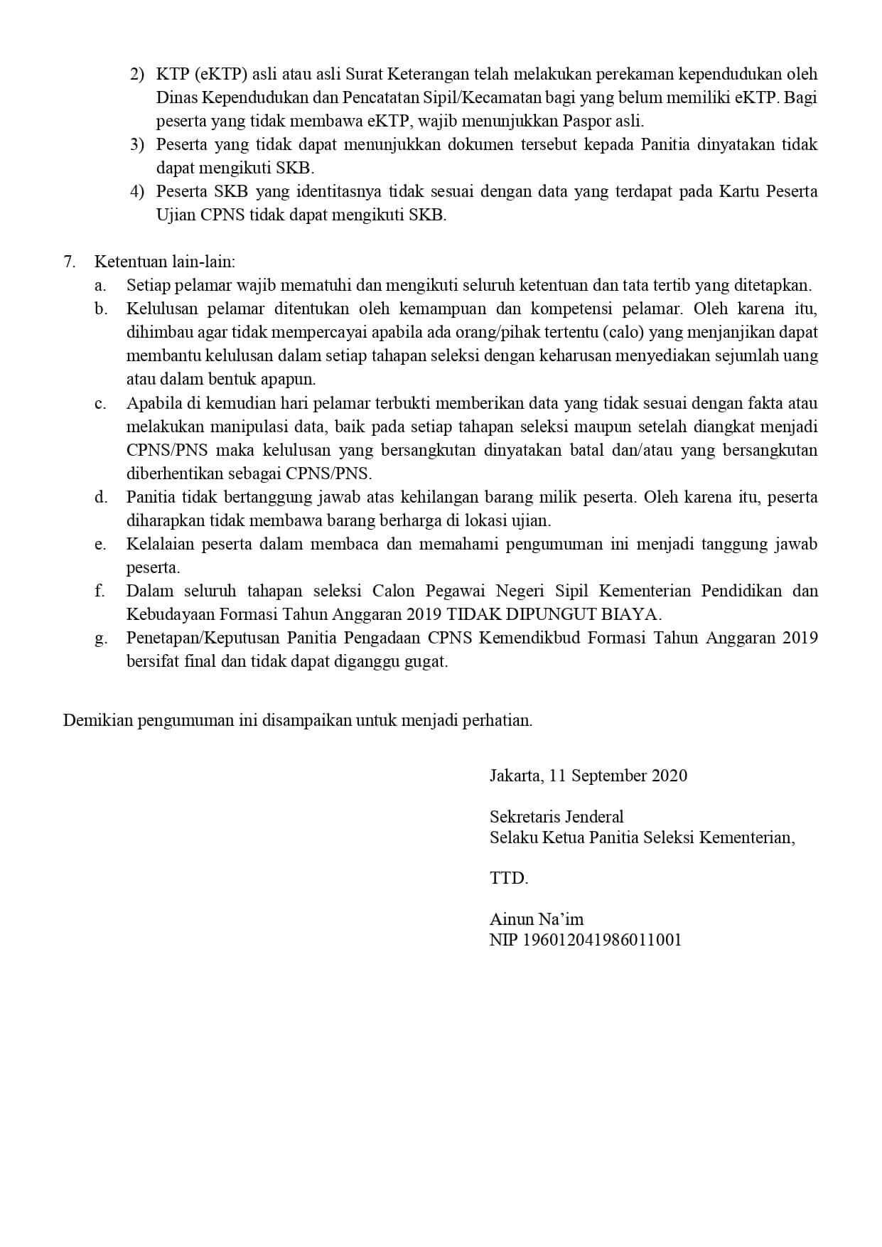 Daftar Peserta dan Jadwal SKB CPNS Kemendikbud Tahun 2020 3
