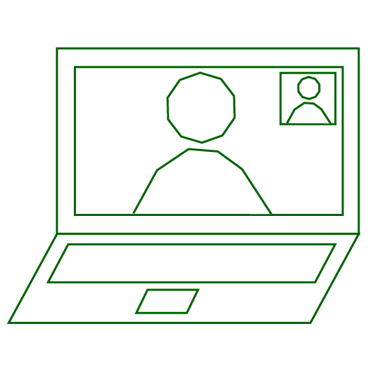 icon of video call on laptop