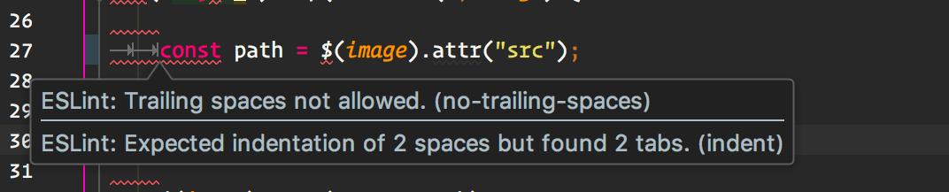 ESLint highlight error in code