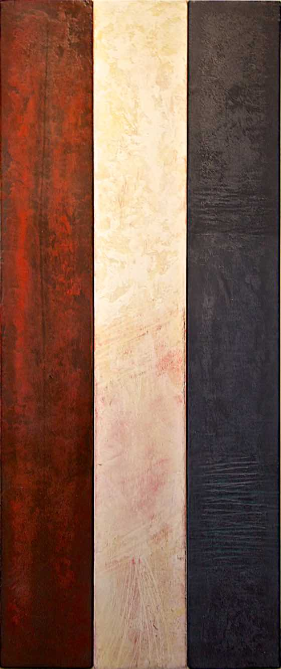 acrylic, plaster on wood panel, 15 in. x 37 in. (38 cm x 94 cm)