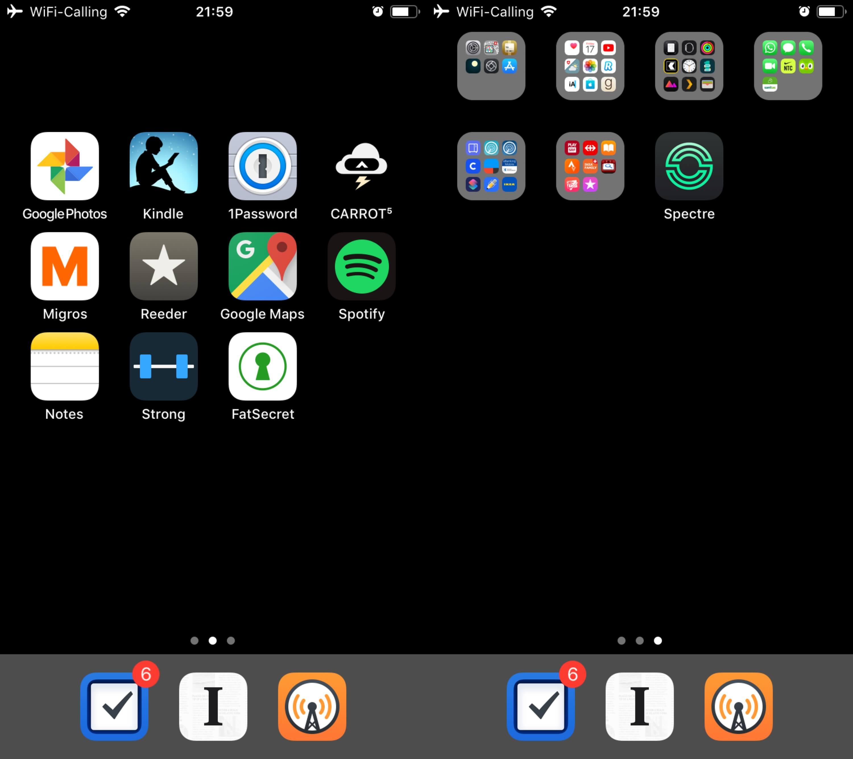 Screenshot of iOS