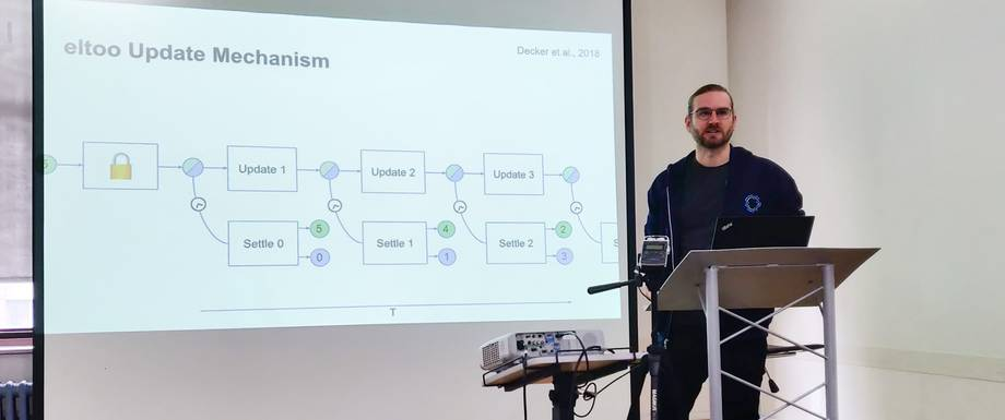 Christian Decker giving a talk on Lightning Network