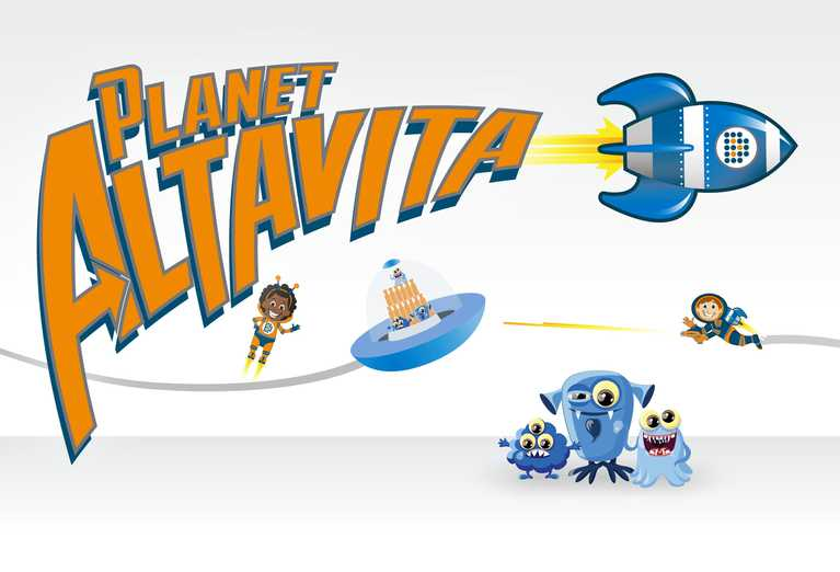 planet altavita logo and characters