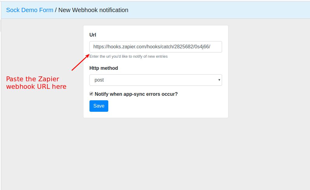 Zapier webhook for form
