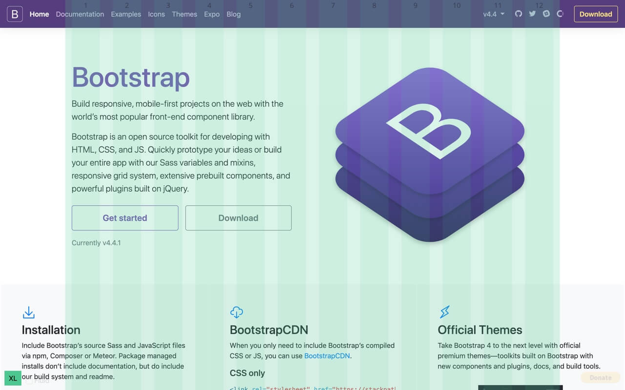 Bootstrap Grid Overlay - non-fluid container