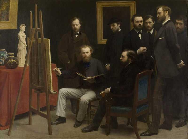 'A Studio at Les Batignolles', by Henri Fantin-Latour (1836–1904) depicting Frédéric Bazille, Edouard Monet, Renoir etc..