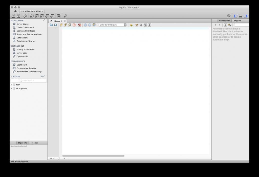 MySQL workbench primary window