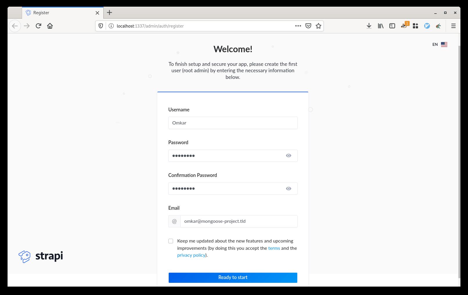 Strapi admin user creation