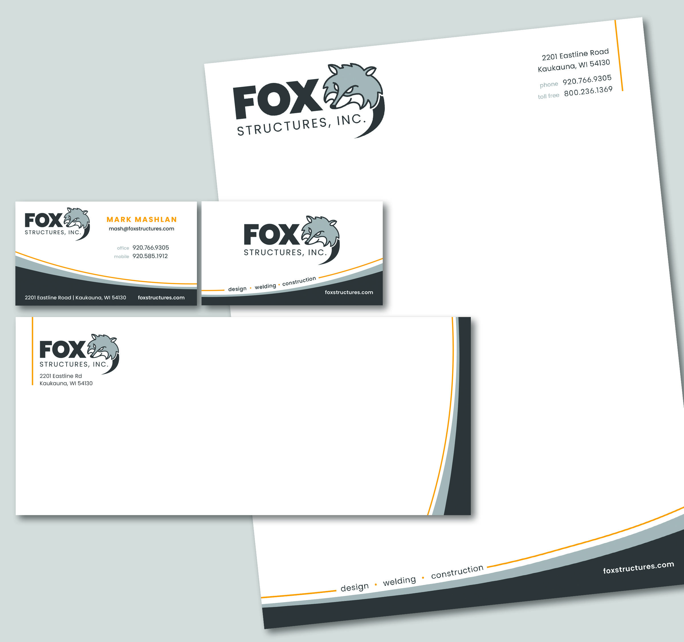 Fox Structures letterhead and business cards designed by Insight Creative