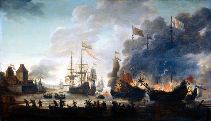 Cortes burns the ships on the coast of Mexico