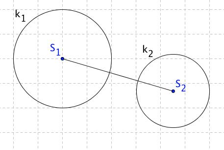Kružnice k_1 leží ve vnější oblasti k_2