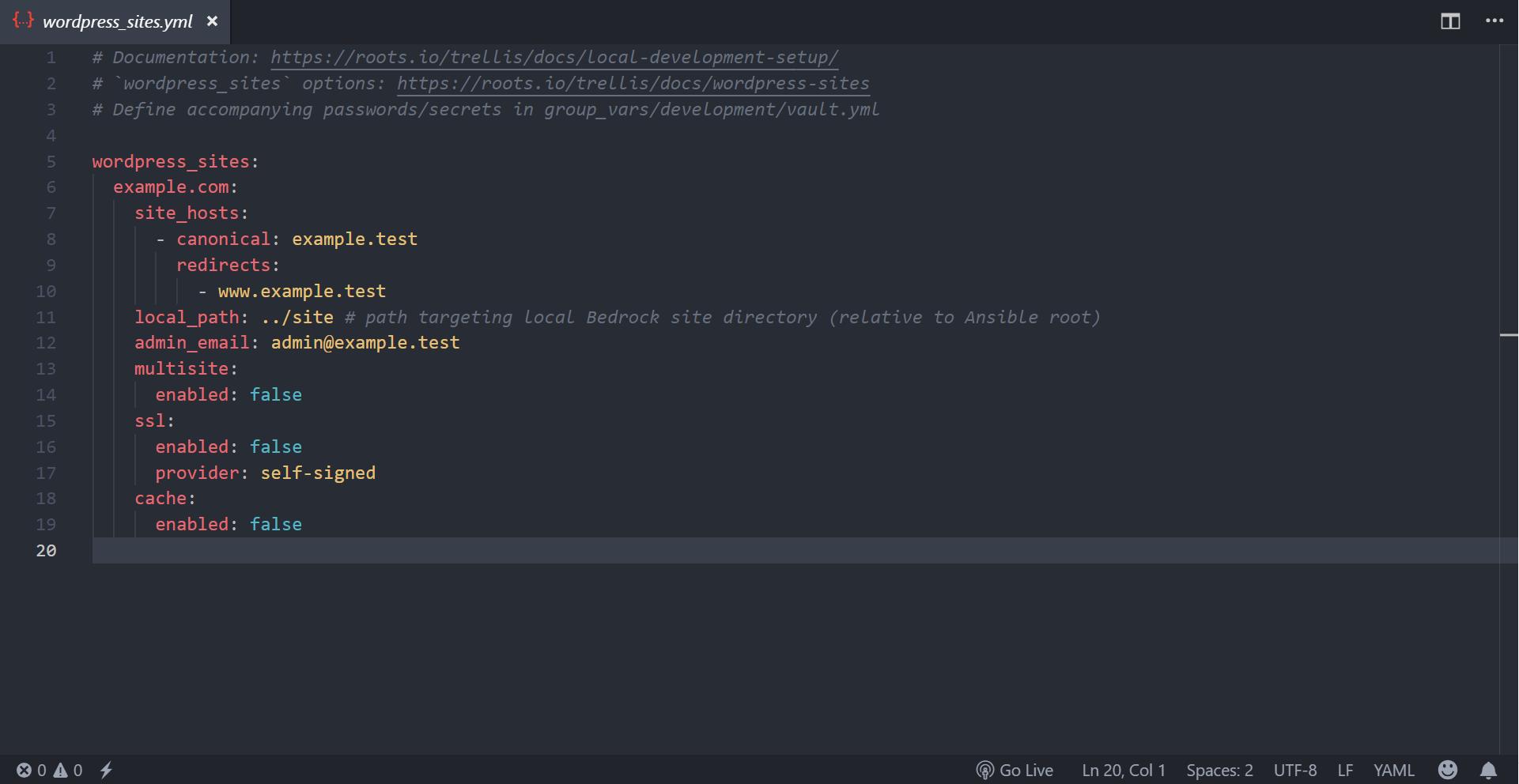 A screenshot of the wordpress_sites.yml file