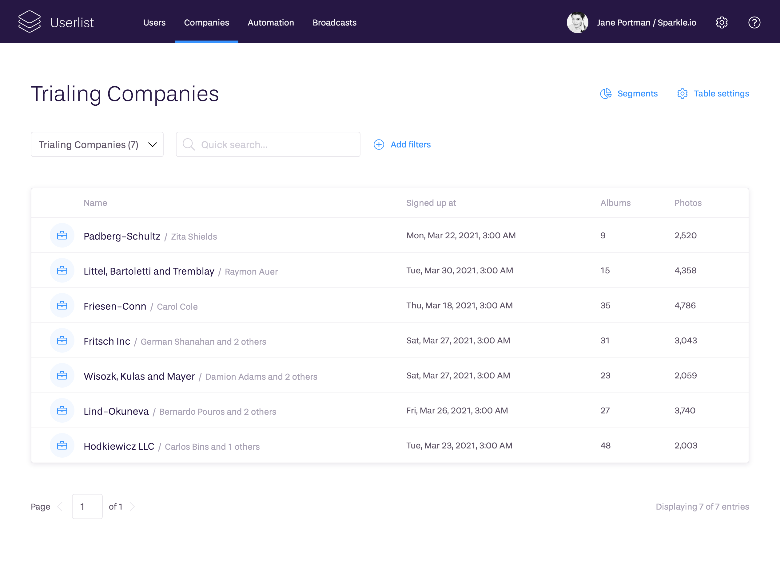 Manage company accounts