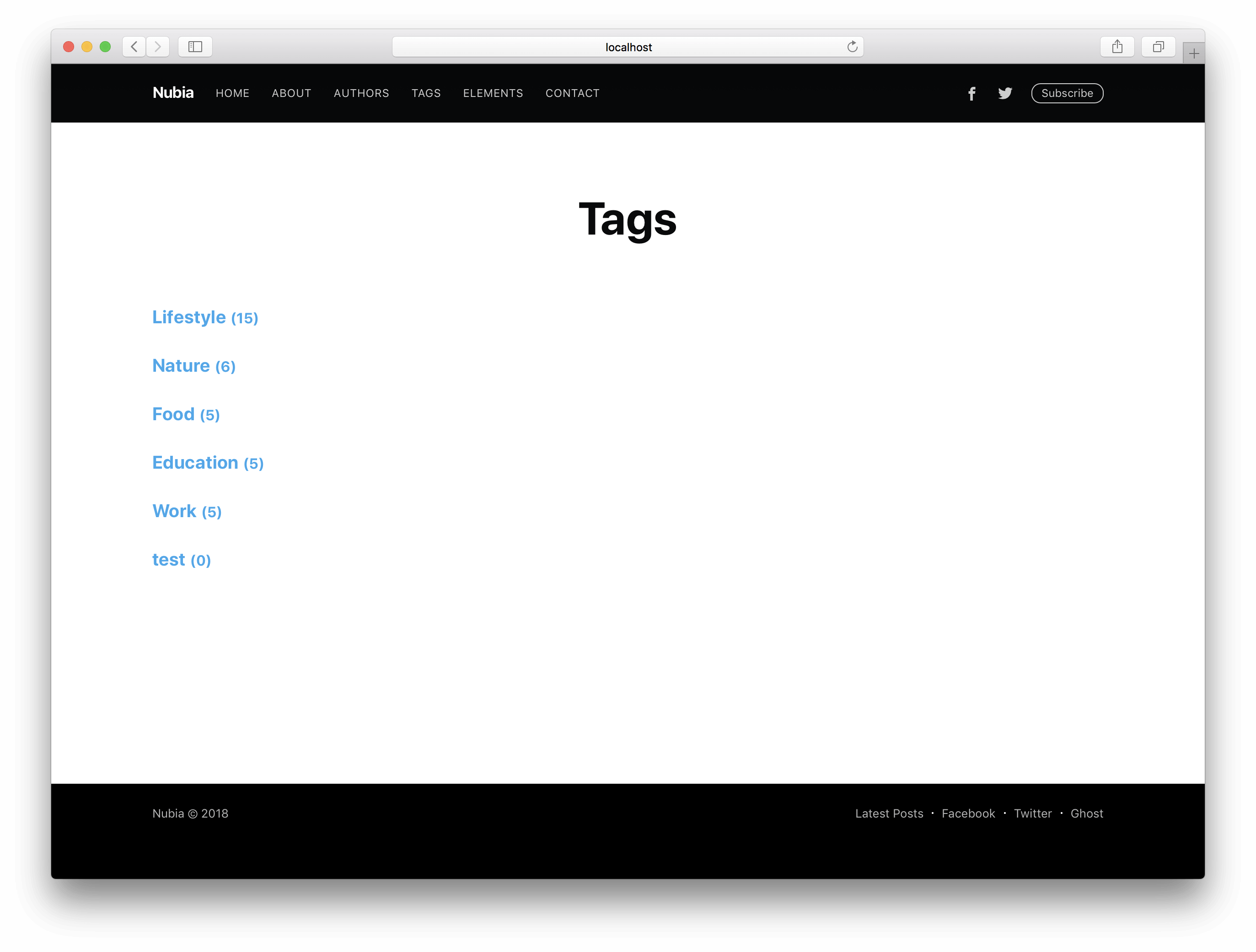 Ghost Casper Theme Tags Page