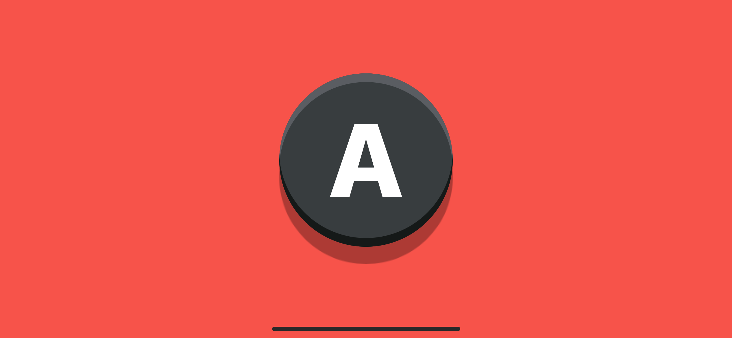 A game controller's button created using a bevel effect.