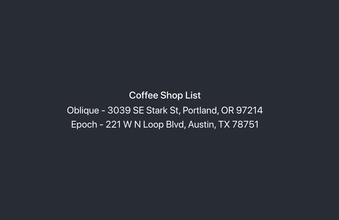 Coffee Shop List