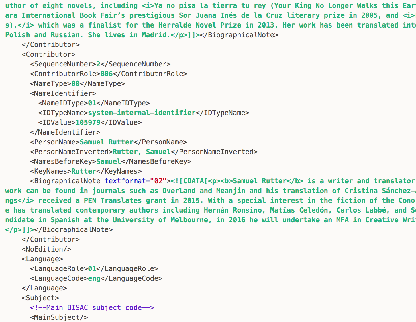 A fragment of <abbr title='ONline Information eXchange, an XML international standard specific to the book trade, first launched in 2000, for representing and communicating book industry product information in electronic form'>ONIX</abbr> XML code