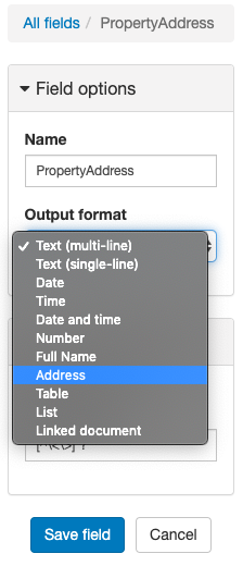 Select the Address format to use our address parser