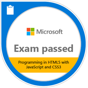 Microsoft Programming in HTML5 with JavaScript and CSS3 Badge