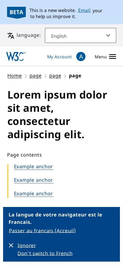 Header design (small screen)