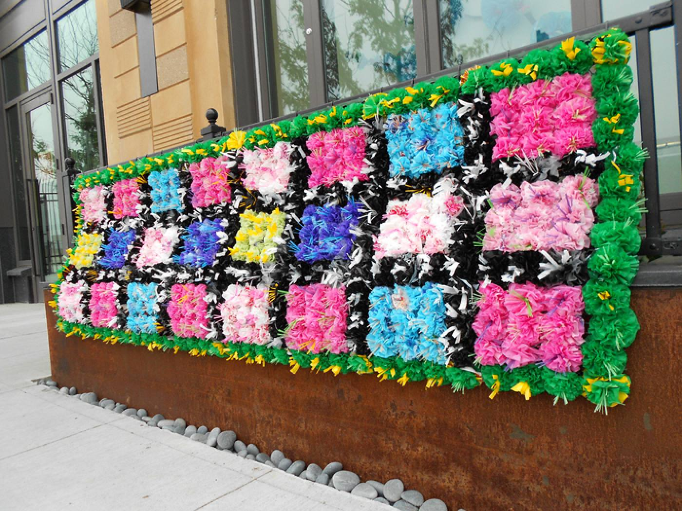 Outdoor installation view of Flower Blanket, the Farewell to Summer