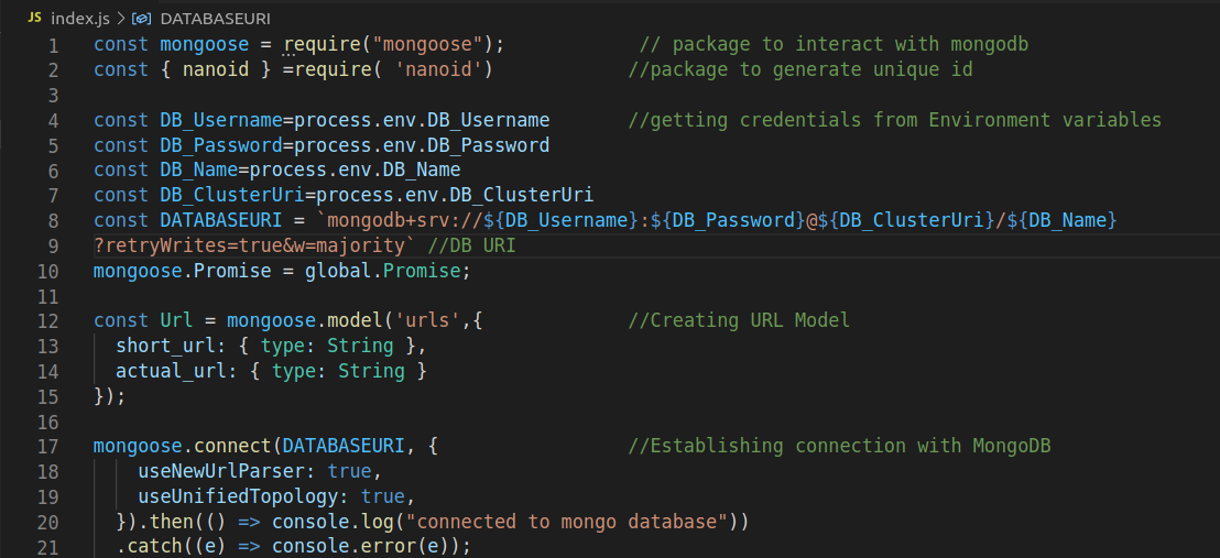 Establish connection with MongoDB using mongoose package