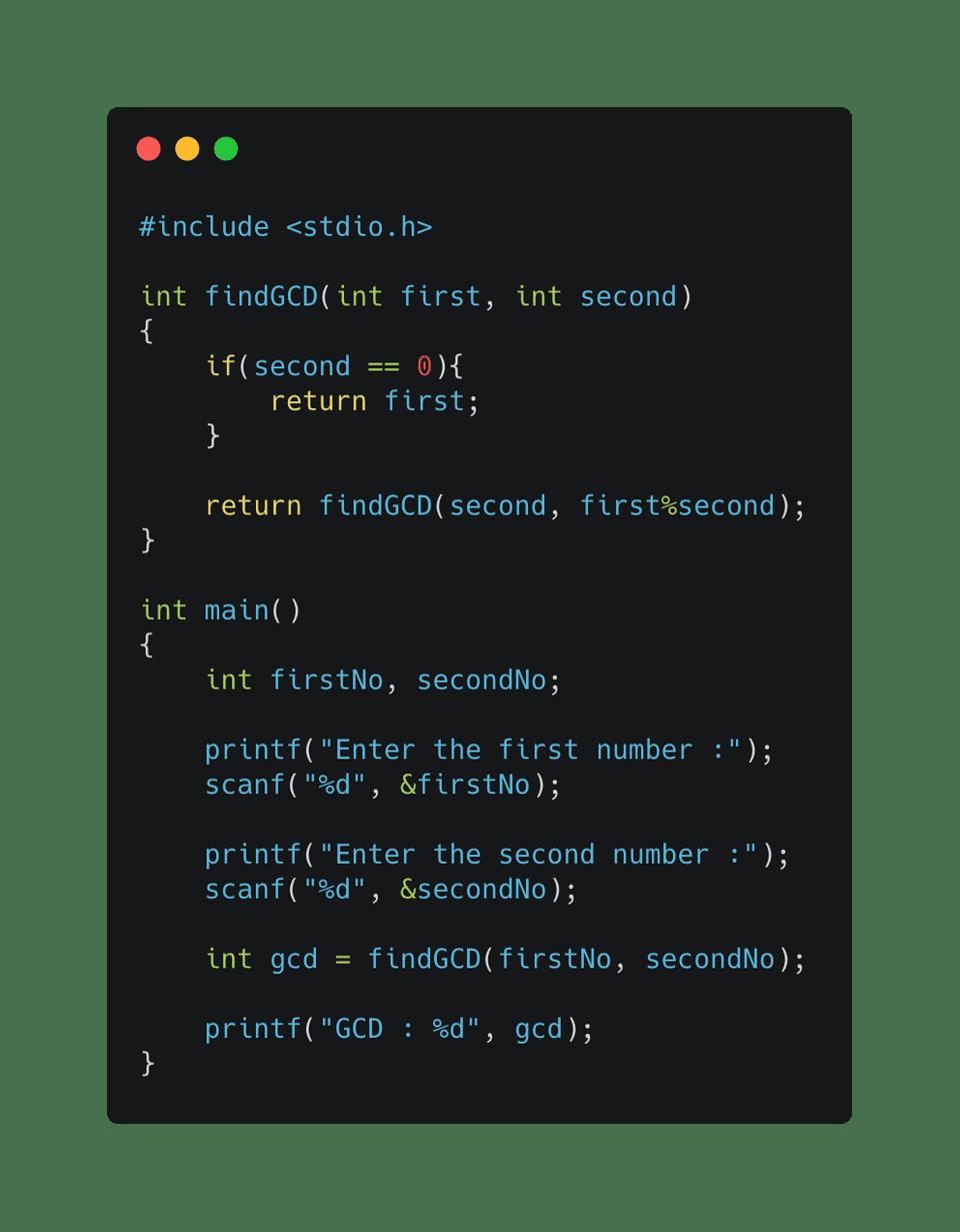 c program to find gcd using euclidean algorithm