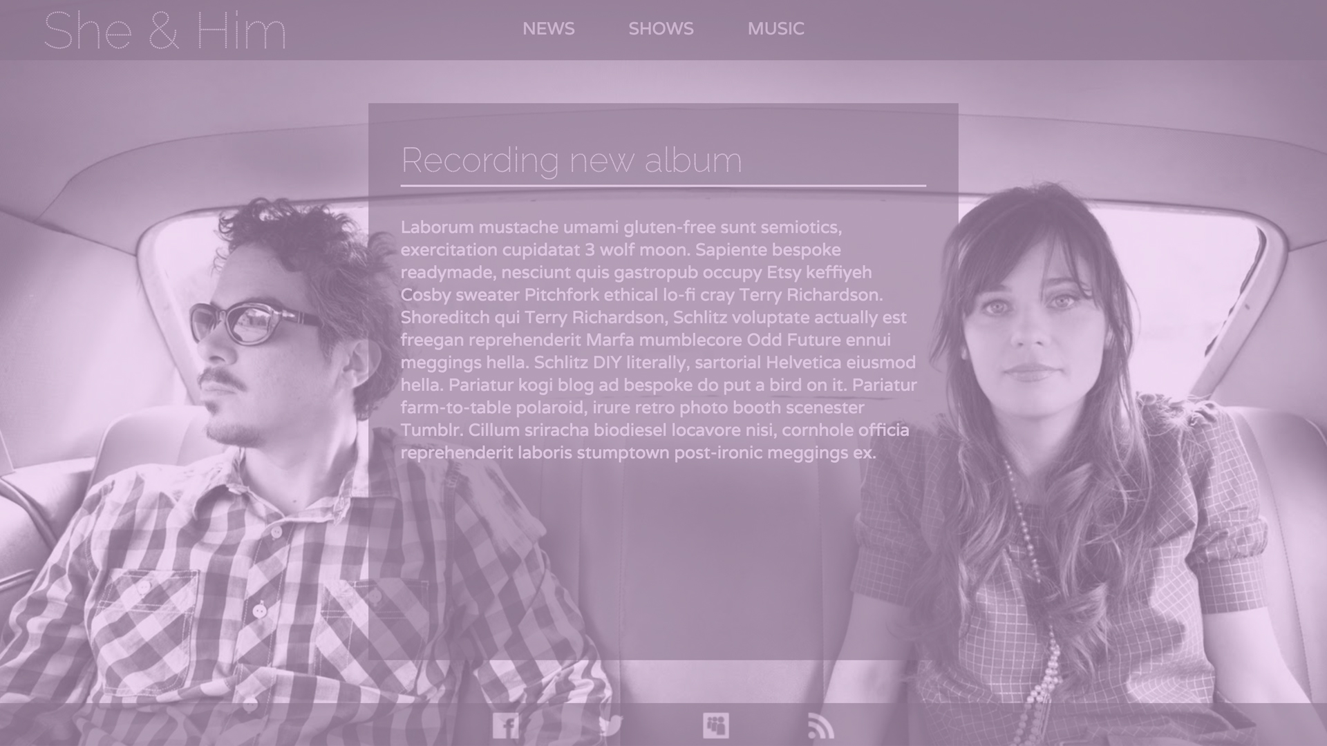 Band website homepage