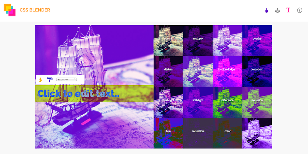 Screenshot of the CSS Blender demo.