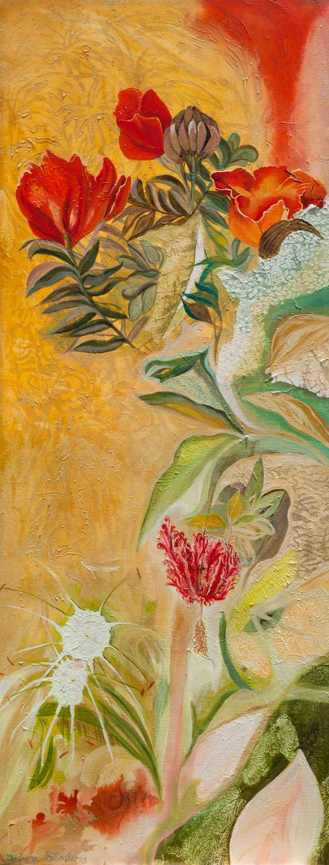 Nandi Flame, Beach Spider Lily And Hibiscus Flowers, woodblock acrylic on canvas