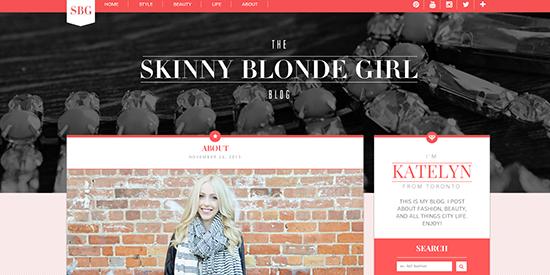 Screenshot of The Skinny Blonde Girl website