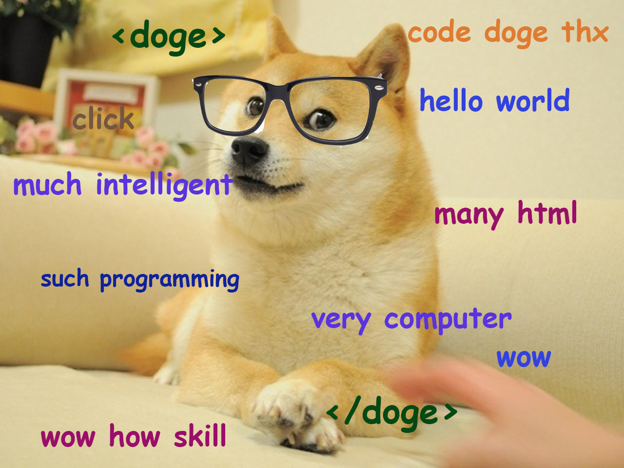 "meme doge ""such code"", ""many html"""