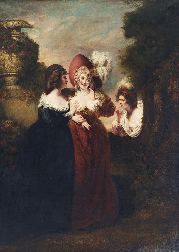 Two fashionable women confiding in each other with a third overhearing the conversation from around a hedge row.