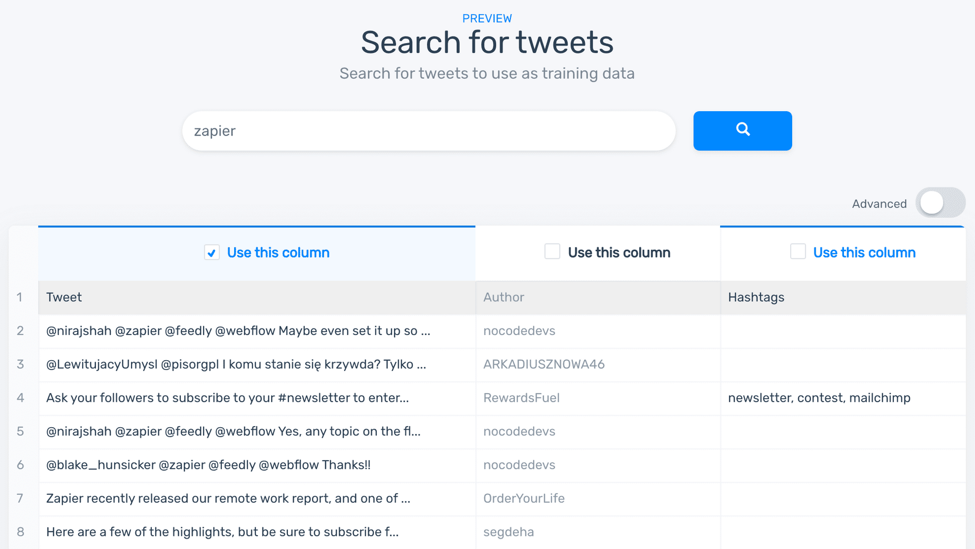 MonkeyLearn's creation wizard, with the option to search for tweets