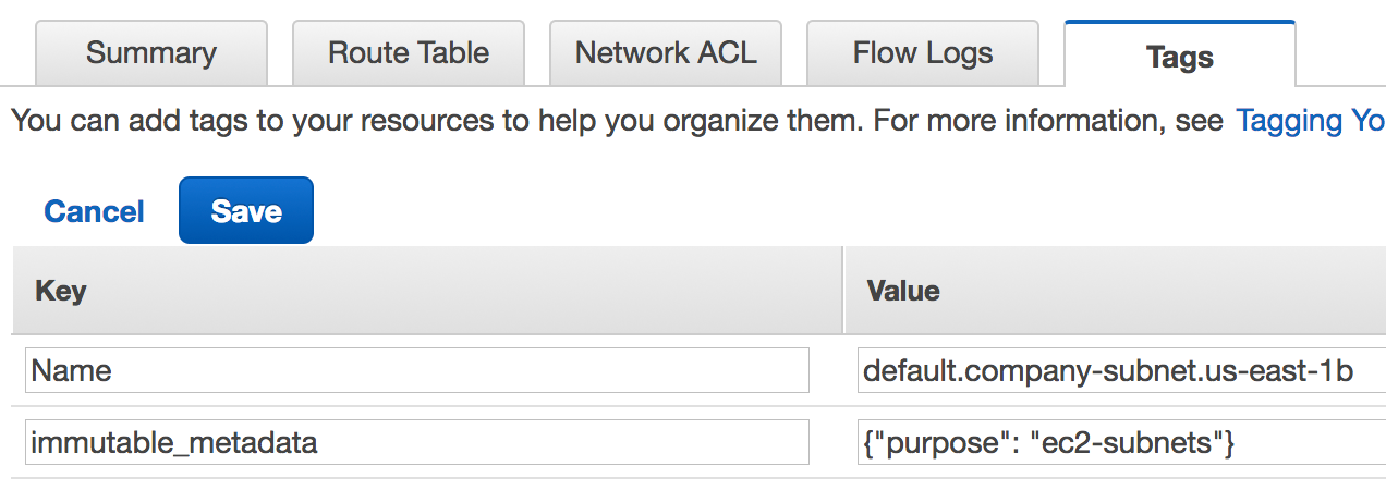subnet tags in AWS console