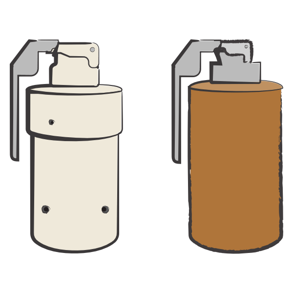 Image shows an illustration of two sarin grenades side by side. The grenade on the left is beige and the grenade on the right is brown, both of which have fly-off levers. The two grenades are almost identical in structure, except for two visible filling holes around the body of the beige grenade on the left side. The illustration was commissioned by GPPi and created by Judith Carnaby.