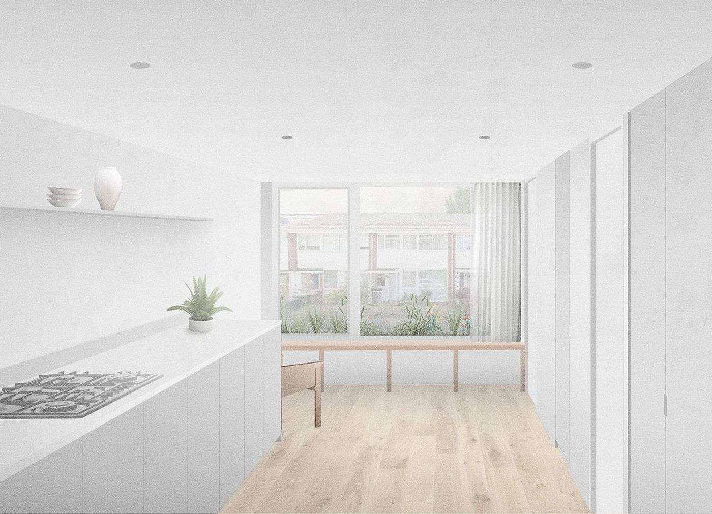 Interior view of the light grey kitchen looking out towards the window seat and external planter within From Works refurbishment and extension in Blackheath, London.