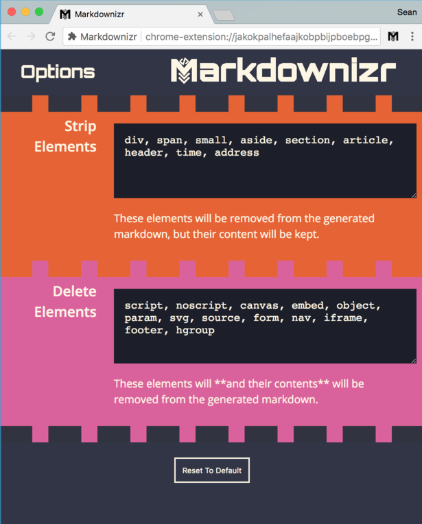 settings page of markdownizr