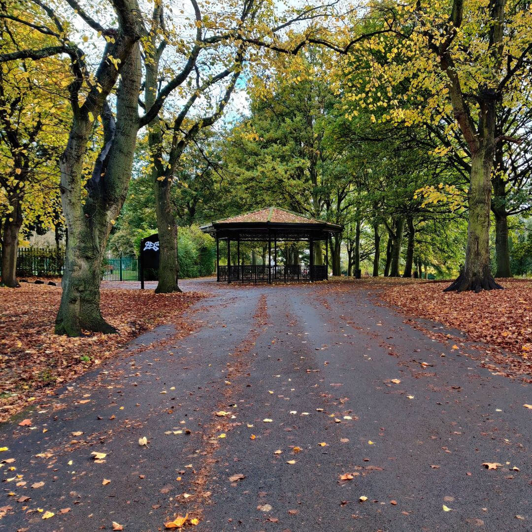 Burley Park path in Autumn leading to Band Stand