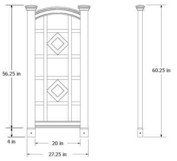 Milan Trellis wireframe dimensions