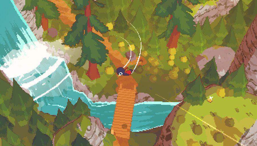 A cute bird flying over a stream.