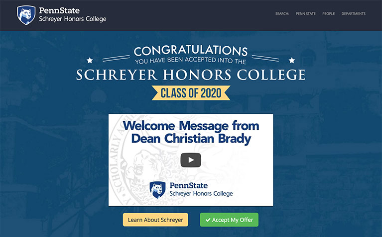 Schreyer Honors College Accepted Students landing page