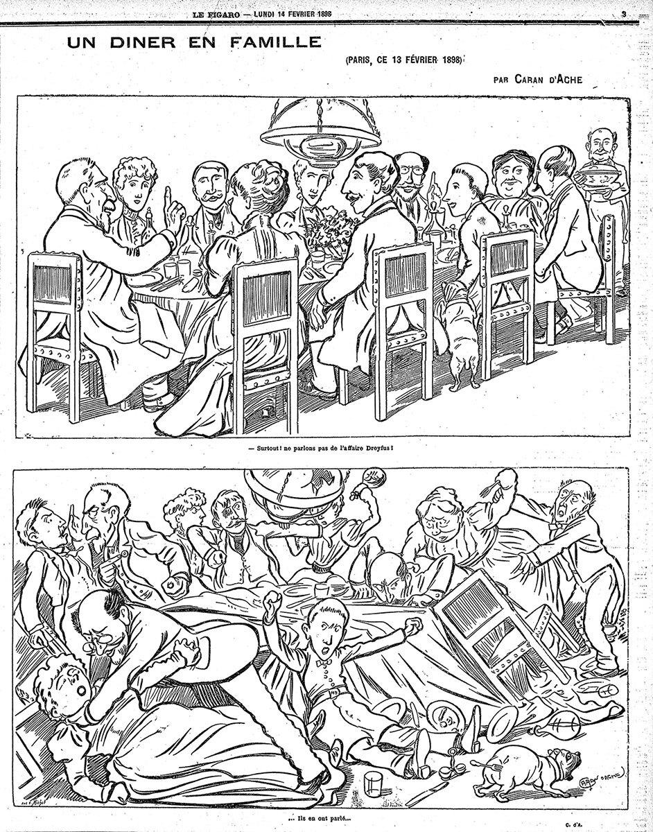 Карикатура Каран д'Аша «Семейный ужин», 14февраля 1898года. Вверху: «Иглавное, давайте неговорить оделе Дрейфуса!» Внизу: «Они онем поговорили…» /  wikimedia.org
