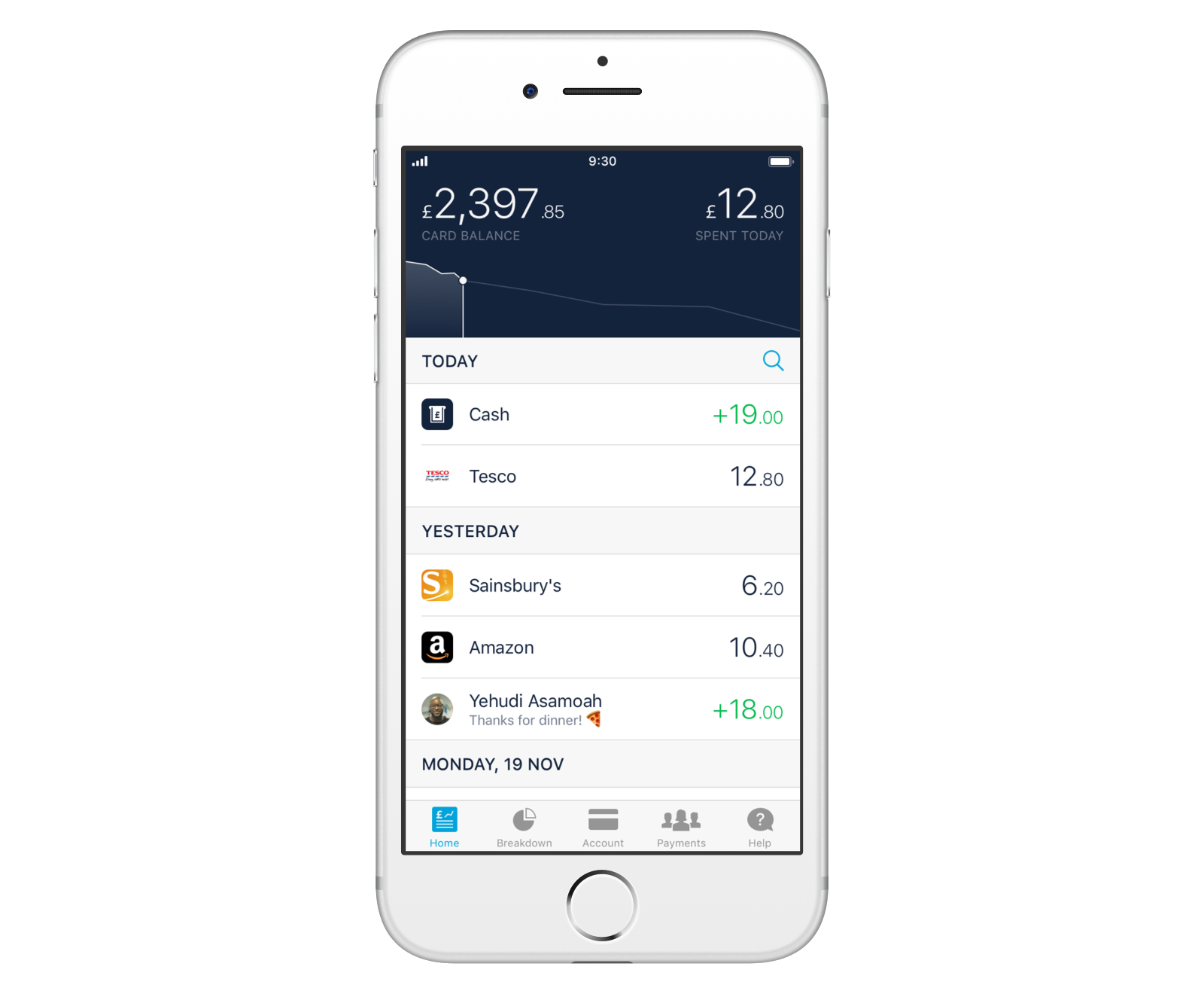 Screen showing how a cash deposit appears in your transaction feed in the Monzo app