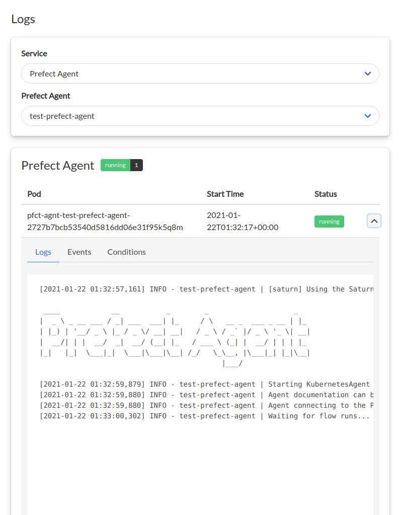Log viewing page in Saturn Cloud UI showing the logs for a Prefect Agent