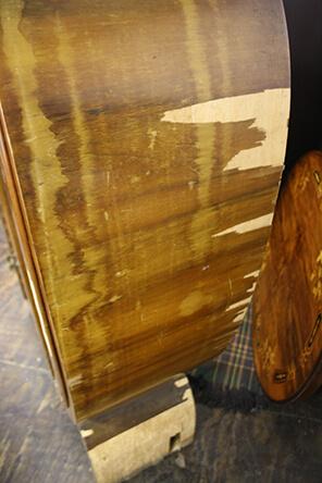veneer damage on art deco display cabinet