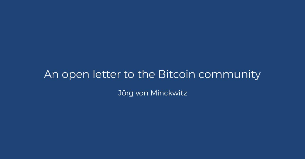 open letter from bitwala ceo joerg von minckwitz